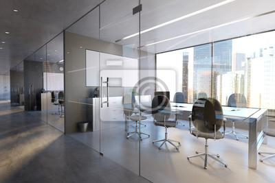 Fototapeta Glass Office Room Wall Mockup - 3d rendering