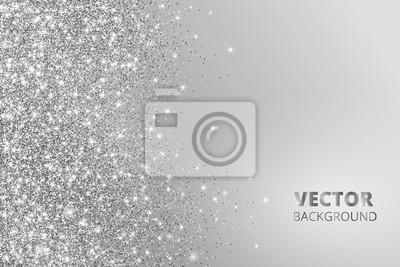 Fototapeta Glitter konfetti, śniegu spada z boku. Vector srebrny kurz, wybuch na szarym tle. Obramowanie musujące, ramki