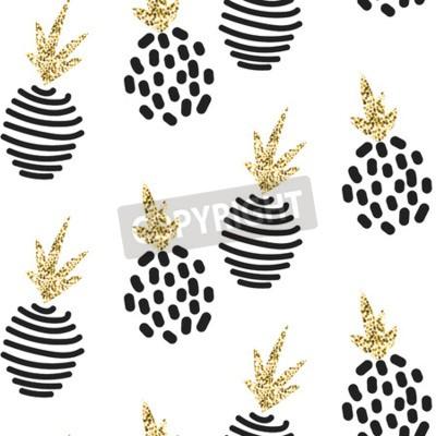 Fototapeta Glitter skandynawski abstrakcyjny ananas ozdoba. Wektor białego złota bezszwowych wzorców kolekcji. Nowoczesne shimmer szczegó? Y stylowe tekstury.