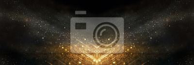 Fototapeta glitter vintage lights background. black and gold. de-focused