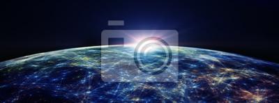 Fototapeta Global International Łączność linie tła / Connection wokół kuli ziemskiej, futurystyczne technologii motywu tła z mocą światła, ilustracji 3D