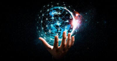 Fototapeta Global network connection covering earth with link of innovative perception . Concept of international trading and digital investment, 5G global wireless connection and future of internet of things .