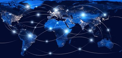 Fototapeta Global networking and international communication. World map as a symbol of the global network. Elements of this image furnished by NASA.