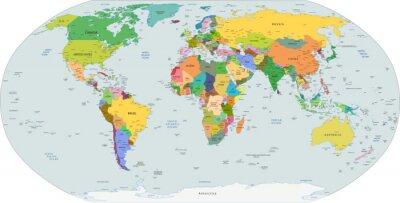 Fototapeta Globalna mapa polityczna świata, wektor