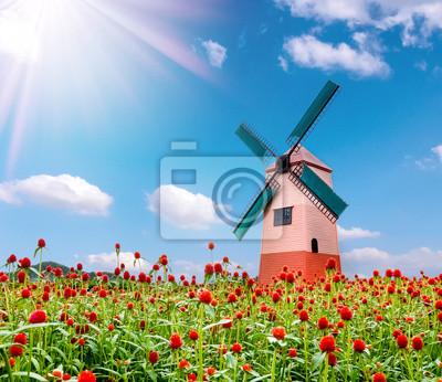 Globe amarant kwiat i wiatrak i błękitne niebo w tle