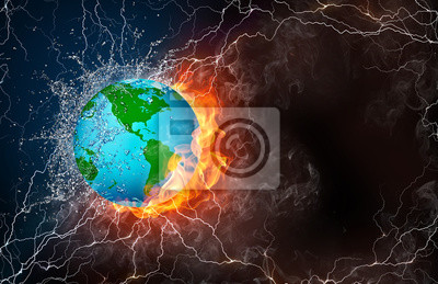 Fototapeta Globe in fire and water
