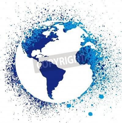 Fototapeta Globe ink splatter ilustracji. Grunge