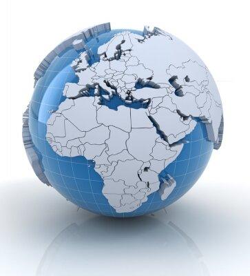 Fototapeta Globe z wytłaczanych kontynentach, w Europie i Afryce regionu