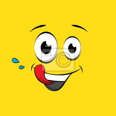 Fototapeta Głodny emotikon lub emoji twarz na żółtym tle. Pyszna żółta buźka w stylu komiksu. Smaczne ikony emoji wektor