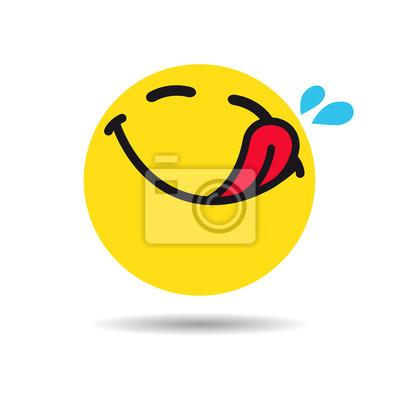 Fototapeta Głodny emotikon lub symbol emoji. Yummy żółty smiley w płaskim projekcie na białym tle. Ikona smaczne emotikon wektor