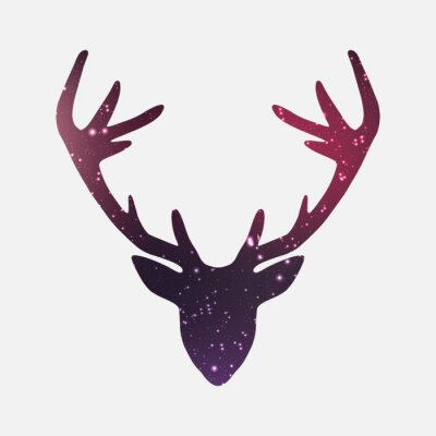 Fototapeta Głowa jelenia, galaktyk i mgławic tle