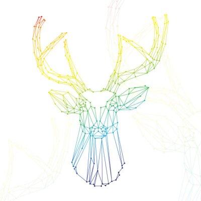 Fototapeta Głowa jelenia na białym tle tęczy