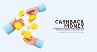 Fototapeta Gold Coins money passed and served from hand to hands. Creative concept. Trade cash back. Realistic 3d design in cartoon style. Business financial investment. Save savings. Vector illustration
