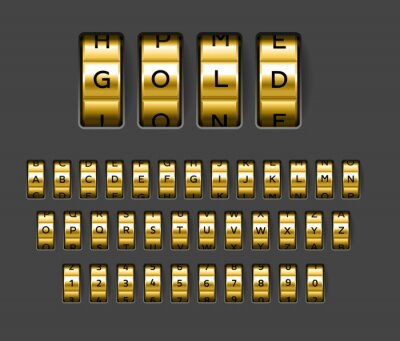 Fototapeta Gold locks combination. Realistic rotating secret unlock code font. Banking security metallic alphabet. Spinning wheels with letters and numbers. Vector safe protection elements set