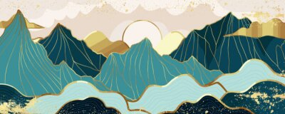 Fototapeta Gold mountain wallpaper design with landscape line arts, Golden luxury background design for cover, invitation background, packaging design, wall arts, fabric, and print. Vector illustration.