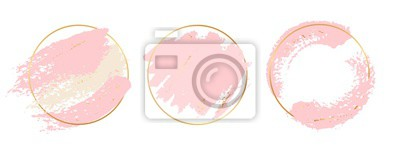 Fototapeta Gold pink background. Circle gold frames with pastel pink brushes elements. Vector brush strokes banners template. Illustration stroke pastel, splash brush watercolor