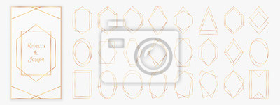 Fototapeta Gold polygonal frames collection isolated on light grey background.