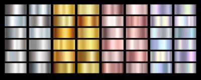 Fototapeta Gold rose, silver, holographic, bronze and golden foil texture gradation background set. Vector shiny hologram and metalic gradient collection for border, frame, ribbon, label design