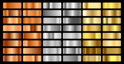 Fototapeta Gold, silver, bronze and golden foil texture gradation background set. Vector shiny hologram and metalic gradient collection for border, frame, ribbon, label design. Vector illustration