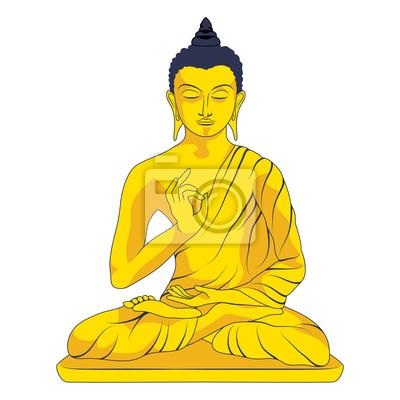 Gold Statue Buddy siedzi