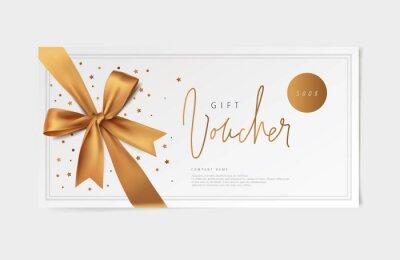 Fototapeta gold vector voucher design with a bow
