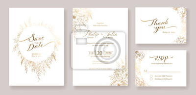 Fototapeta Gold Wedding Invitation, save the date, thank you, rsvp card Design template. Vector. winter flower, Rose, silver dollar, olive leaves, Wax flower, Anemone.
