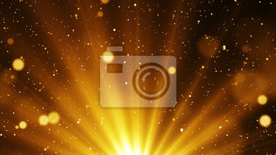 Fototapeta Golden abstract background with shinning particles and glitter sparks come from light at the bottom.