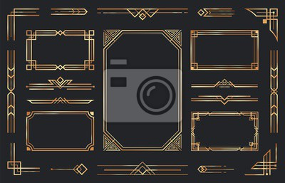 Fototapeta Golden art deco ornaments. Arabic antique decorative gold border, retro geometric ornamental frame and ornate golden corners. Geometry deco label, old victorian decoration. Isolated vector symbols set