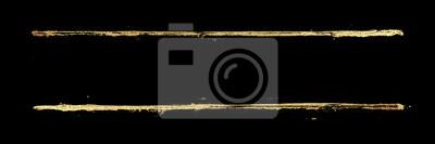 Fototapeta Golden grunge lines frame background. Gold shiny glittering stripes on black watercolor texture.