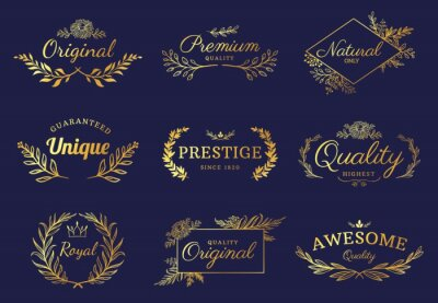 Fototapeta Golden ornament labels. Luxury floral badges and logo with leaf, flowers and crown. Vintage gold royal premium flourishes element vector set