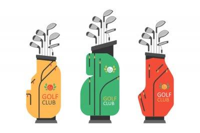 Fototapeta Golf bag with clubs. Golfer sports equipment. flat style