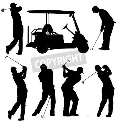 Fototapeta Golf player sylwetka na białym tle