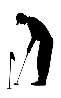 Fototapeta Golf Sportu Silhouette - golfista na ćwiczenia na zielono