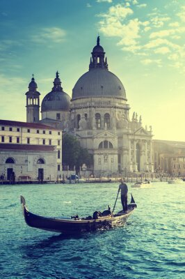 Fototapeta Gondola i Bazylika Santa Maria della Salute, Wenecja, Włochy