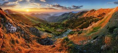 Fototapeta Górskie panoramy doliny Vratna słońce, na Słowacji