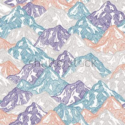 Fototapeta Góry bez szwu deseń. Zabawa góry żartują ilustrację. Ilustracji wektorowych
