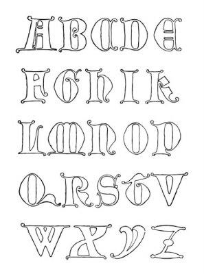Fototapeta Gothic Uncial Alphabet, vintage illustration.