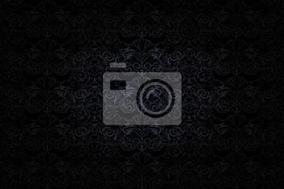 Fototapeta gotyckie tło w kolorze ciemnoszarym i czarnym z klasycznym barokowym wzorem, rokoko z przyciemnionymi krawędziami, wektor Eps 10