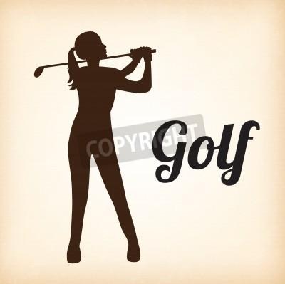 Fototapeta Gracz kobieta golfa na tle ilustracji wektorowych beżowym