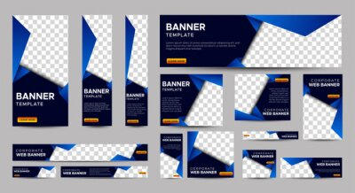Fototapeta Gradient Blue Banner templates set with standard size for web. Business banner with place for photos for Social Media, Cover ads banner, flyer, invitation card. Vector EPS 10