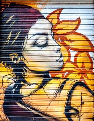 Fototapeta Graffiti femme fleur
