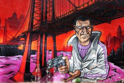 Fototapeta Graffiti gangster posiadania broni