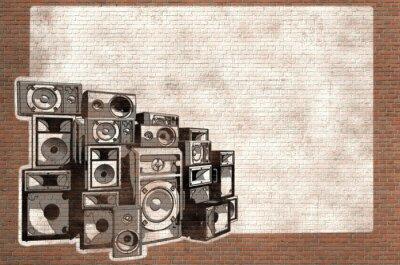 Fototapeta Graffiti głośniki na ceglany mur