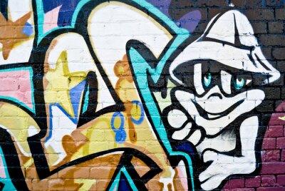 Fototapeta Graffiti: Kolorowe szczegółowo na teksturą ściany z cegły
