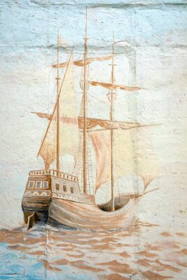 Fototapeta Graffiti mur przez nieznanego artysty z statku morskiego