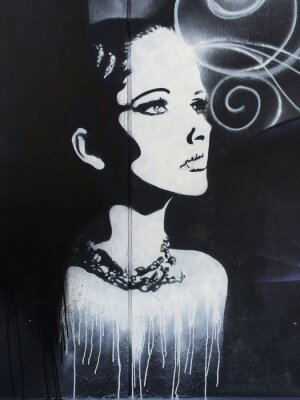 Fototapeta Graffiti na ścianie z przemyślany kobiety