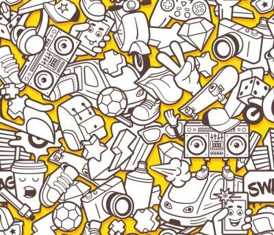 Fototapeta Graffiti szwu z linii ikon miejskiego stylu życia. Szalony doodle abstrakcyjne tło wektor. Trendy w stylu konspektu kolaż z elementów sztuki dziwaczne ulicznych. Dorosły kolorystyka szablonu projektow