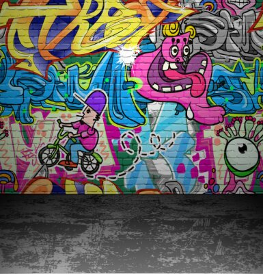 Fototapeta Graffiti wall urban street art painting