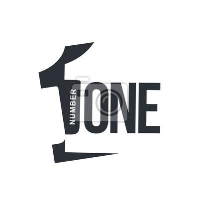 Fototapeta Graficzne logo z ukośną logo z trójwymiarowej numer jeden