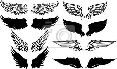 Fototapeta Grafika wektorowa Set skrzydła.